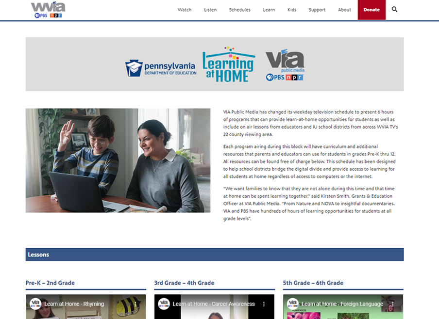 WVIA Learning at Home page