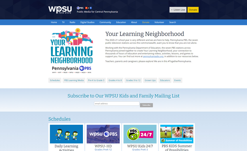 WPSU Learning at Home page