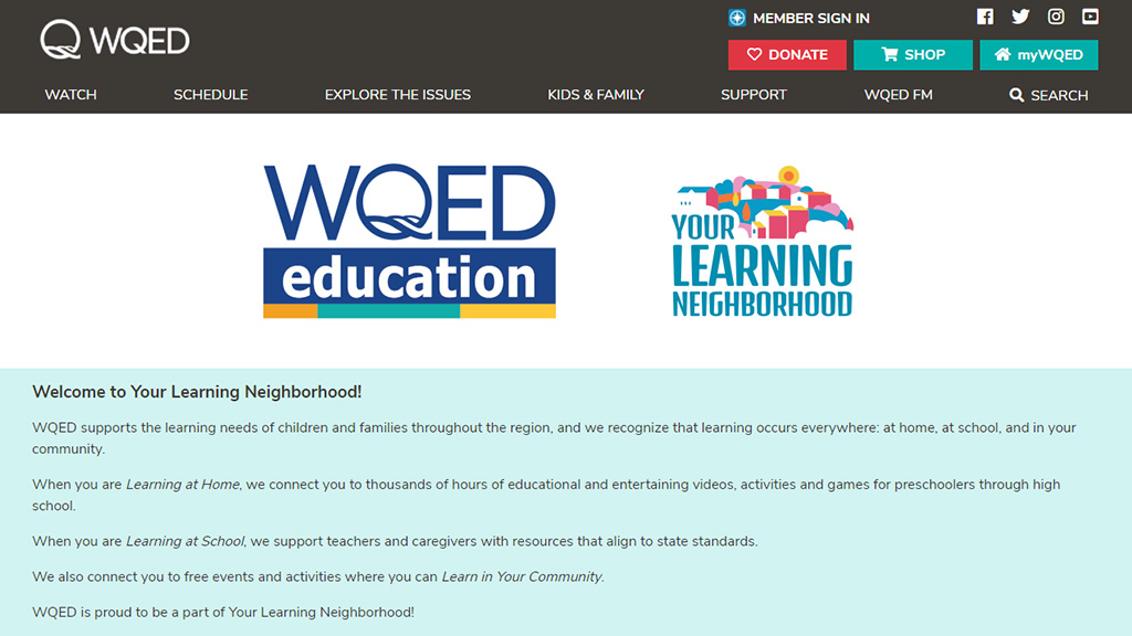 WQED Learning at Home page