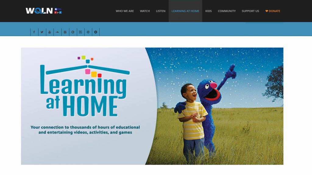 WQLN Learning at Home page