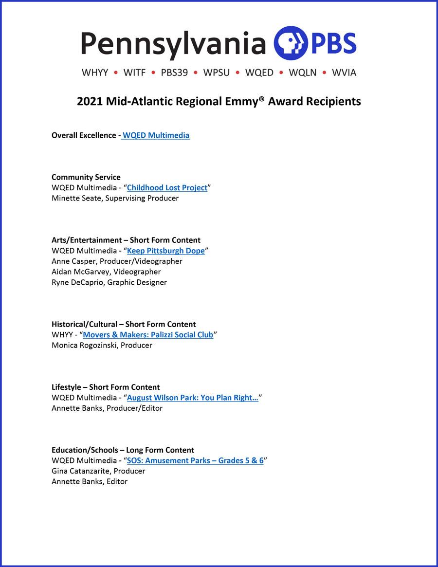 Mid-Atlantic Emmy Awards Sept 2021